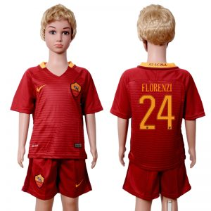 2016-2017 club Rome home kids 24 Red Soccer Jersey