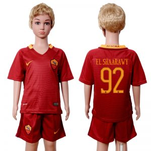 2016-2017 club Rome home kids 92 Red Soccer Jersey