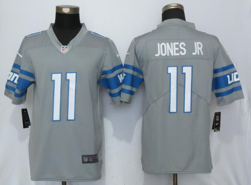 Detroit Lions 11 Jones jr Steel Color Rush Gray New Nike Limited Jersey