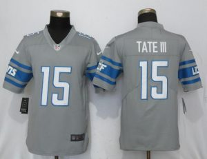 Detroit Lions 15 Tate lll Steel Color Rush Gray New Nike Limited Jersey
