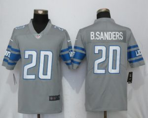 Detroit Lions 20 B.Sanders Steel Color Rush Gray New Nike Limited Jersey