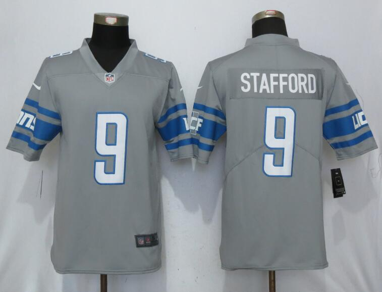 Detroit Lions 9 Stafford Steel Color Rush Gray New Nike Limited Jersey
