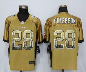 New Orleans Saints 28 Peterson Drift Fashion Gold New Nike Elite Jerseys