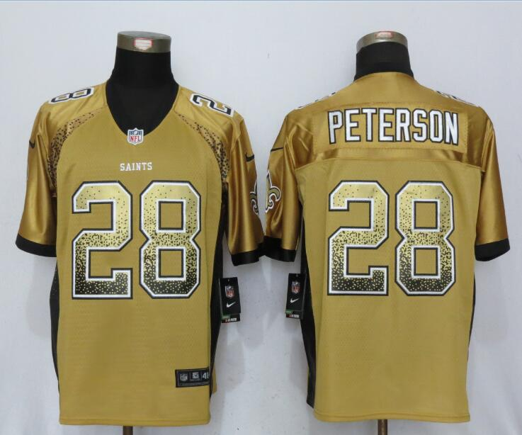 New Orleans Saints 28 Peterson Drift Fashion Gold New Nike Elite Jerseys