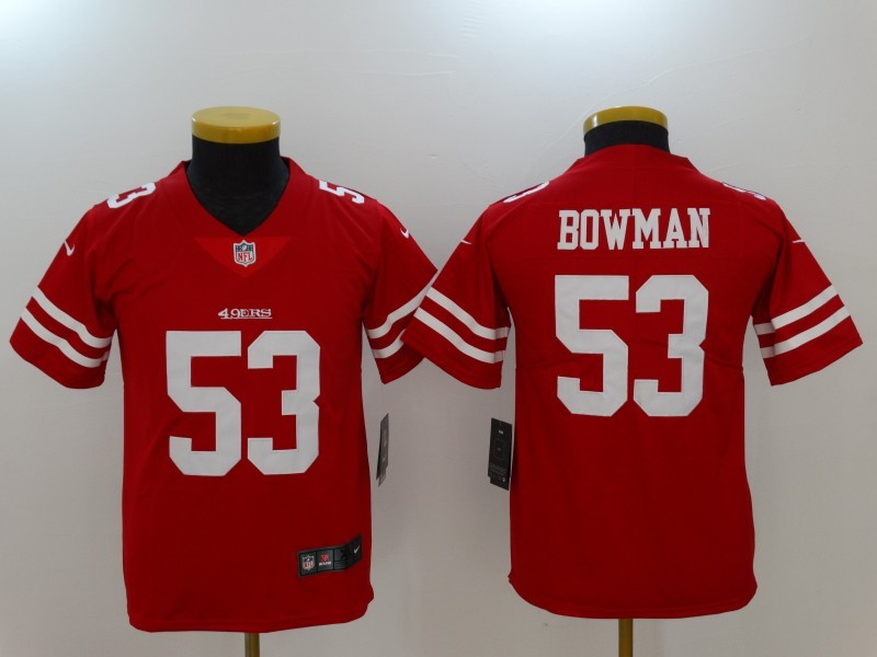 Youth San Francisco 49ers 53 Bowman Red Nike Vapor Untouchable Limited Jersey